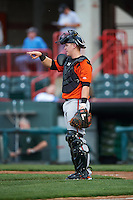 Bowie Baysox catcher Chance Sisco (12) during a game against the Erie SeaWolves on May 12, 2016 at Jerry Uht Park in Erie, Pennsylvania.  Bowie defeated Erie 6-5.  (Mike Janes/Four Seam Images)