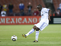 Lassana Diarra kicks the ball. Real Madrid defeated Club America 3-2 at Candlestick Park in San Francisco, California on August 4th, 2010.