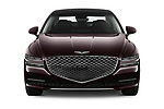 Car photography straight front view of a 2021 Genesis G80 - 4 Door Sedan Front View