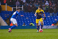 Saturday 25 January 2014<br /> Pictured: Alejandro Pozuelo takes the ball forward for the swans<br /> Re: Birmingham City v Swansea City FA Cup fourth round match at St. Andrew's Birimingham