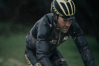 Peloton veteran Svein Tuft (CAN/Michelton-Scott); aged 40 & still confronting the elements.<br /> <br /> 12th Strade Bianche 2018<br /> Siena > Siena: 184km (ITALY)