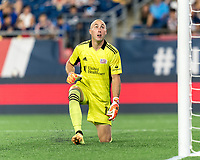 FOXBOROUGH, MA - JULY 7: Brad Knighton #18 of New England Revolution watches shot go high during a game between Toronto FC and New England Revolution at Gillette Stadium on July 7, 2021 in Foxborough, Massachusetts.