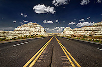 A stretch of US Hwy. 550 running through the Lybrook badlands in northwestern New Mexico.