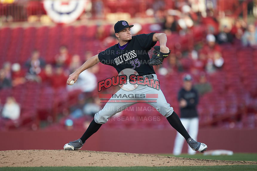 Holy Cross Crusaders relief pitcher Connor Crotty (35) in action against the South Carolina Gamecocks at Founders Park on February 15, 2020 in Columbia, South Carolina. The Gamecocks defeated the Crusaders 9-4.  (Brian Westerholt/Four Seam Images)