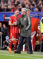 03.04.2018, Football UEFA Champions League 2017/2018,   FC Sevilla - FC Bayern Muenchen, stadium Ramon Sanchez Pizjuan, Sevilla (spain). Trainer Jupp Heynckes (re, FC Bayern Muenchen) wechselt Franck Ribery (FC Bayern Muenchen) aus. *** Local Caption *** © pixathlon<br /> <br /> Contact: +49-40-22 63 02 60 , info@pixathlon.de