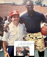 BNPS.co.uk (01202) 558833<br /> Pic: GreyFlannelAuctions/BNPS<br /> <br /> Pictured: Veteran photographer Robert Crawford and Michael Jordan.<br /> <br /> A pair of Michael Jordan's trainers from his debut basketball season have sold for over £300,000.<br /> <br /> The basketball legend wore the red and white Nike Air Jordan 1 shoes during the 1984-85 season while playing for the Chicago Bulls.<br /> <br /> He gave his size 13.5 footwear to veteran photographer Robert Crawford after the Bulls played the Indiana Pacers in 1985.<br /> <br /> The popularity of Jordan trainers has been driven by last year's acclaimed documentary 'The Last Dance' charting his time at the Bulls.<br /> <br /> Mr Crawford, who has kept hold of the shoes for 36 years, offloaded them with Grey Flannel Auctions, of Scottsdale, Arizona, US.