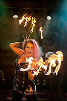 BNPS.co.uk (01202 558833)<br /> Pic: MaxWillcock/BNPS<br /> <br /> Pictured: Fire-eater Anatasia IIII.<br /> <br /> The Circus of Horrors cast prepare for their evening performance at the Tivoli Theatre in Wimborne Minster, Dorset as part their tour of UK. The Circus of Horrors is a British-based contemporary circus, they were first seen performing at the Glastonbury Festival in 1995.