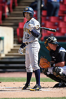 May 14, 2009: Fernando Garcia (12) of the Burlington Bees at Elfstrom Stadium in Geneva, IL.  Photo by: Chris Proctor/Four Seam Images