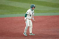Craig Keuchel (9) of the Charlotte 49ers takes his lead off of second base against the Tennessee Volunteers at Hayes Stadium on March 9, 2021 in Charlotte, North Carolina. The 49ers defeated the Volunteers 9-0. (Brian Westerholt/Four Seam Images)