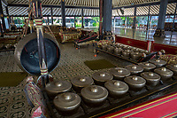 Yogyakarta, Java, Indonesia.  Gongs in the Gamelan Orchestra at the Sultan's Palace.