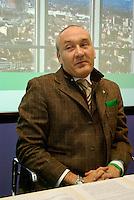 Milano, Davide Boni, Assessore al Territorio e Urbanistica della Regione Lombardia, alla presentazione del piano edilizio regionale --- Milan, Davide Boni, assessor for territory and town planning at Lombardy Region, presenting the Regional plan for building