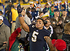 Sep 22, 2012; Manti Te'o waves to the student section on his way out of the stadium after beating Michigan 13-6...Photo by Matt Cashore