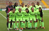 BOGOTÁ -COLOMBIA, 25-02-2018:Formación de La Equidad Femenino. Acción de juego  entre  La Equidad y Fortaleza C.E. I.F.  durante partido por la fecha 3 de la Liga Femenina Águila I 2018 jugado en el estadio Metropolitano de Techo de la ciudad de Bogotá./ Women´s Equidad team.Action game between  La Equidad and  Fortaleza C.E. I.F.  during the match for the date 3 of the Aguila Women's League I 2018 played at Metropolitano de Techo stadium in Bogotá city. Photo: VizzorImage/ Felipe Caicedo / Staff