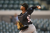Jupiter Hammerheads pitcher Jesus E. Sanchez (32) during a game against the Lakeland Flying Tigers on July 30, 2021 at Joker Marchant Stadium in Lakeland, Florida.  (Mike Janes/Four Seam Images)