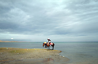 Tourists on the shores of Qinghai Lake. Qinghai Lake, China's largest inland body of water lies at over 3000m on the Qinghai-Tibetan Plateau. The lake has been shrinking in recent decades, as a result of increased water-usage for local agriculture. Qinghai Province. China. 2010