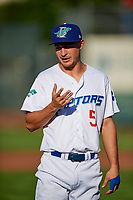 Kevin Lachance (5) of the Ogden Raptors before the game against the Orem Owlz in Pioneer League action at Lindquist Field on June 21, 2017 in Ogden, Utah. The Owlz defeated the Raptors 16-5. This was Opening Night at home for the Raptors.  (Stephen Smith/Four Seam Images)