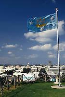 fort, Bermuda, Hamilton, Flag fly's at Fort Hamilton overlooking the scenic town of Hamilton in Bermuda.