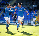 Brian Graham (R) celebrates his goal for St Johnstone with tea mate Dave Mackay
