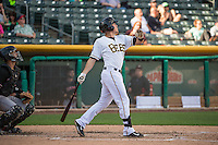 Alex Yarbrough (9) of the Salt Lake Bees at bat against the Albuquerque Isotopes in Pacific Coast League action at Smith's Ballpark on June 8, 2015 in Salt Lake City, Utah.  (Stephen Smith/Four Seam Images)