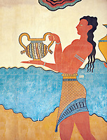 "The Minoan  ""Procession  Fresco' reconstructed at Knossos  archaeological site, Crete"