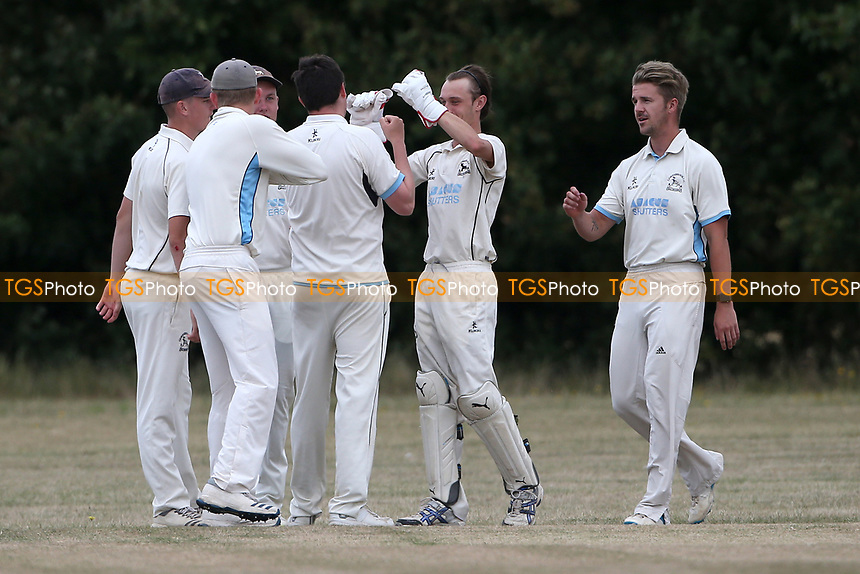 Goresbrook players celebrate taking the first Upminster wicket during Goresbrook CC vs Upminster CC (batting), Essex Cricket League at May & Baker Sports Club on 1st August 2020