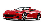 Stock pictures of low aggressive front three quarter view of a 2019 Ferrari Portofino base 2 Door Convertible