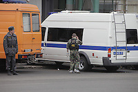 Moscow, Russia, 29/03/2010..Scenes outside Lubyanka metro station, where at least 24 people were killed in a morning rush hour suicide bombing. A second bomb exploded at Park Kultury metro station, killing at least another 14 people. FSB bomb squad officer..