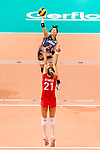 Wing spiker Sarina Koga of Japan (R) spikes the ball during the FIVB Volleyball World Grand Prix match between Japan vs Russia on 23 July 2017 in Hong Kong, China. Photo by Marcio Rodrigo Machado / Power Sport Images