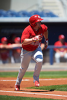 Palm Beach Cardinals third baseman Allen Staton (33) runs to first during a game against the Charlotte Stone Crabs on April 10, 2016 at Charlotte Sports Park in Port Charlotte, Florida.  Palm Beach defeated Charlotte 4-1.  (Mike Janes/Four Seam Images)
