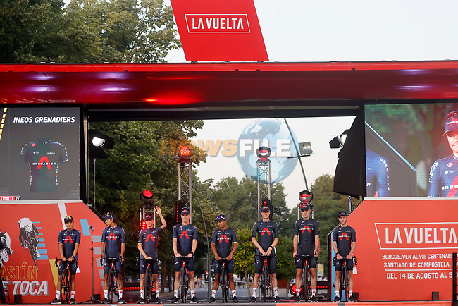 Ineos Grenadiers on stage at the Team Presentation before La Vuelta d'Espana 2021 held in Burgos city centre, Spain. 12th August 2021.    <br /> Picture: Luis Angel Gomez/Photogomezsport | Cyclefile<br /> <br /> All photos usage must carry mandatory copyright credit (© Cyclefile | Luis Angel Gomez/Photogomezsport)