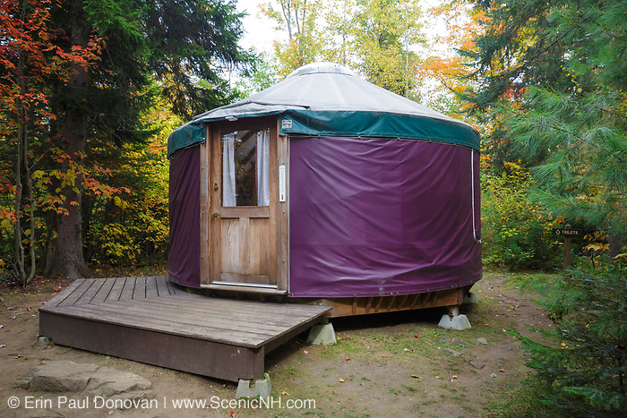 A Yurt at Milan Hill State Park in Milan, New Hampshire USA during the autumn months.