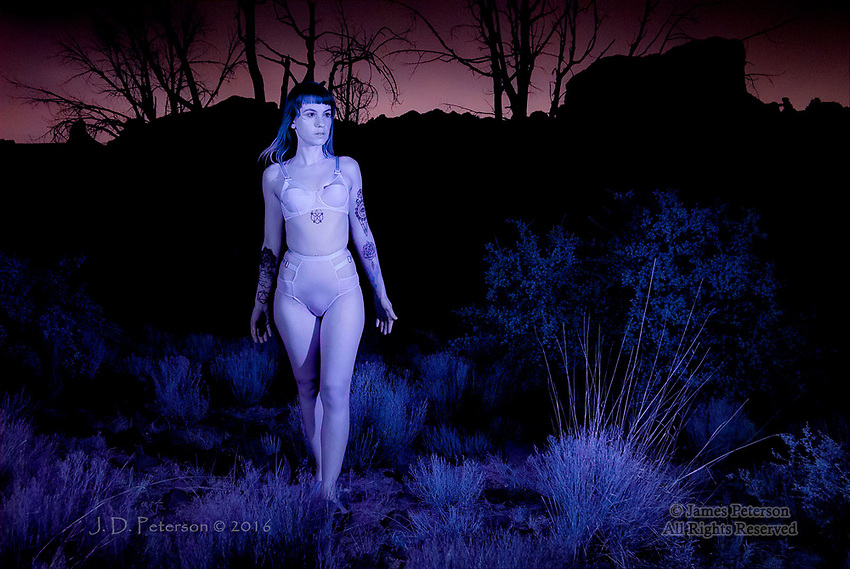 Kylla in June #1 (Infrared)  © 2016 James D Peterson.  A post-sunset photo session with a hauntingly expressive model in the red rock country of Sedona, Arizona -- for a photographer, what could be better?
