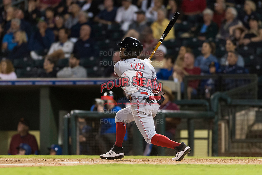 AFL East second baseman Shed Long (6), of the Salt River Rafters and the Cincinnati Reds organization, follows through on his swing during the Arizona Fall League Fall Stars game at Surprise Stadium on November 3, 2018 in Surprise, Arizona. The AFL West defeated the AFL East 7-6 . (Zachary Lucy/Four Seam Images)