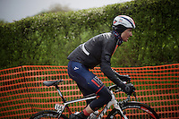 David Tanner (USA/IAM) up the infamous La Redoute (1650m/9.7%) in the snow<br /> <br /> 102nd Liège-Bastogne-Liège 2016