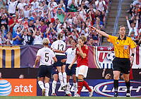 22 MAY 2010:  USA's Lori Lindsey #5, USA's Kristine Lilly #13 and USA's Shannon Boxx #7 celebrate their goal during the International Friendly soccer match between Germany WNT vs USA WNT at Cleveland Browns Stadium in Cleveland, Ohio. USA defeated Germany 4-0 on May 22, 2010.