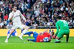 Real Madrid Gareth Bale and FC Viktoria Plzen Radim Reznik and Ales Hruska during UEFA Champions League match between Real Madrid and FC Viktoria Plzen at Santiago Bernabeu Stadium in Madrid, Spain. October 23, 2018. (ALTERPHOTOS/Borja B.Hojas)