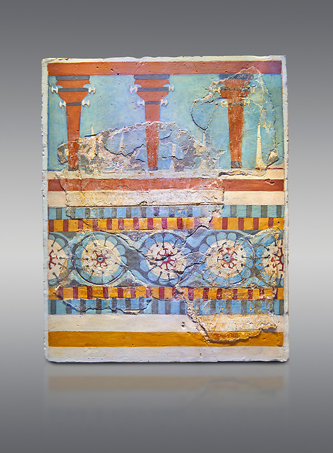"""The Minoan """"Three columned Shrine"""" minture fresco Knossos-Palace, 1700-1450 BC . Heraklion Archaeological Museum.,grey background<br /> <br /> <br /> The freco depicts a portico with columns on which double axes are fixed, separated by horns of consecration, on a balustrade decorated with rosettes"""