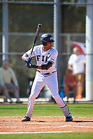 FIU Panthers left fielder Lorenzo Hampton, Jr. (34) bats during a game against the South Dakota State Jackrabbits on February 23, 2019 at North Charlotte Regional Park in Port Charlotte, Florida.  South Dakota defeated FIU 4-3.  (Mike Janes/Four Seam Images)