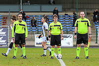 Referees pictured during the line up before a female soccer game between FC Femina White Star Woluwe and Sporting Charleroi on the 10 th matchday of the 2020 - 2021 season of Belgian Scooore Womens Super League , Saturday 19 th of December 2020  in Woluwe , Belgium . PHOTO SPORTPIX.BE | SPP | SEVIL OKTEM