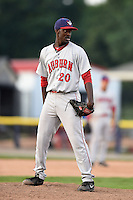 Auburn Doubledays pitcher Deion Williams (20) looks in for the sign during a game against the Batavia Muckdogs on August 31, 2014 at Dwyer Stadium in Batavia, New York.  Batavia defeated Auburn 7-6.  (Mike Janes/Four Seam Images)