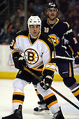 February 17th 2007:  Marco Sturm (16) of the Boston Bruins looks for the pass as Henrik Tallinder (10) of the Buffalo Sabres defends at HSBC Arena in Buffalo, NY.  The Bruins defeated the Sabres 4-3 in a shootout.