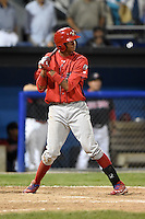 Williamsport Crosscutters outfielder Jose Pujols (33) at bat during a game against the Batavia Muckdogs on August 26, 2014 at Dwyer Stadium in Batavia, New York.  Williamsport defeated Batavia 8-1.  (Mike Janes/Four Seam Images)