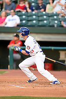 Chattanooga Lookouts outfielder Jeremy Hazelbaker (23) at bat during a game against the Birmingham Barons on April 24, 2014 at AT&T Field in Chattanooga, Tennessee.  Chattanooga defeated Birmingham 5-4.  (Mike Janes/Four Seam Images)