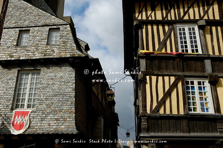 Typical medieval houses in the old town of Dinan, Brittany, France.