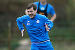 St Johnstone Training….14.10.16<br />Paul Paton pictured in training this morning atr McDiarmid Park ahead of tomorrows game against Kilmarnock<br />Picture by Graeme Hart.<br />Copyright Perthshire Picture Agency<br />Tel: 01738 623350  Mobile: 07990 594431
