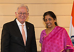 26 October 2015, New Delhi, India : Andrew  Robb, AO, Minister for Trade and Investment Meeting with Indian Minister for Commerce and Industry, Ms Nirmala Sitharaman during his visit to India. Picture by Graham Crouch/DFAT