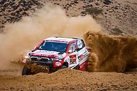 31st December 2020, Jeddah, Saudi Arabian. The vehicle and river shakedown for the 2021 Dakar Rally in Jeddah;   304 De Villiers Giniel zaf, Haro Bravo Alex esp, Toyota, Toyota Gazoo Racing, Auto, action during the shakedown of the Dakar 2021 in Jeddah