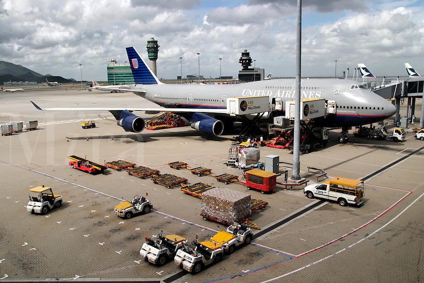 United Airlines 747-400 being serviced at Hong Kong International Airport, Hong Kong SAR, China, Asi