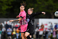 forward Ylenia Carabott of Sporting Charleroi pictured in  a fight for the ball with Woluwe's Stefanie Deville (3) during a female soccer game between Sporting Charleroi and FC Femina White Star Woluwe on the second matchday of the 2020 - 2021 season of Belgian Scooore Women s SuperLeague , friday 4 th of September 2020  in Marcinelle , Belgium . PHOTO SPORTPIX.BE | SPP | DAVID CATRY