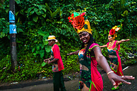 Afro-Colombian dancers of the Pandeyuca neighborhood perform during the San Pacho festival in Quibdó, Colombia, 29 September 2019. Every year at the turn of September and October, the capital of the Pacific region of Chocó holds the celebrations in honor of Saint Francis of Assisi (locally named as San Pacho), recognized as Intangible Cultural Heritage by UNESCO. Each day carnival groups, wearing bright colorful costumes and representing each neighborhood, dance throughout the city, supported by brass bands playing live music. The festival culminates in a traditional boat ride on the Atrato River, followed by massive religious processions, which accent the pillars of Afro-Colombian's identity – the Catholic devotion grown from African roots.